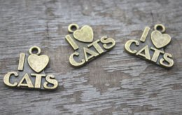 TibeTan silver caT pendanT online shopping - 20pcs Antique Tibetan bronze I Love Cats charms pendants x21mm