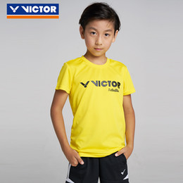 Victor Badminton Shirts Australia - Victor Breathable Badminton Shirt For Children Kids Knitted Sweat-absorbant Outdoor Sport Shorts Jersey