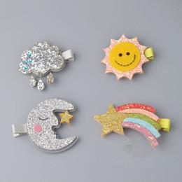 feelings hairs 2019 - New Design Cute Moon Hair Clips Sparkly Sun Glitter Rainbow Felt Animal Hairpin Girls Children Hair Accessories cheap fe