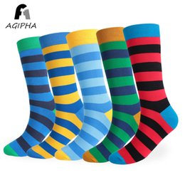 8965bca63fe Large Size Colorful Stripe Patterned Men Long Socks Thigh High Casual Plain  Cotton Male Socks 5 Pairs lot Size EUR 44-48
