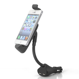 China Car Phone Holder Dual USB Charger Cigarette Lighter Socket Mount Stand Cradles For iPhone 5 6 7 8 X suppliers
