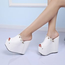 c34796a85c 2018 New Summer Woman Shoes High Heels 16CM Wedges Pearl Female Slippers  Somen Platform Sandals Open Toe Women White Footwear