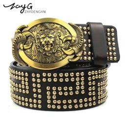 7c198d49854 ZAYG Leather belt men gothic lion luxury belt buckles genuine leather rivet  for men belts Punk jeans cowhide belts for