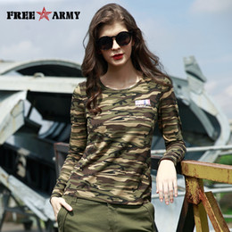 f25bdd9b346aa FREE ARMY High Quality T-Shirts Basic Long Sleeve Military Camo Women T- Shirt Four Colors Casual Tshirts O-Neck Tees Tops Female GS-8799