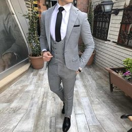 Discount grey mens suit wedding party - New Arrival One Button Light Grey Wedding Groom Tuxedos Notch Lapel Groomsmen Mens Business Party Suits (Jacket+Pants+Ve