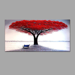 Best Canvas Wall Decor Canada - Hand Painted Oil Paintings Red Life Tree of life Wall Art Pictures For Living Room Office Decor Best Gift
