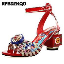 2730ca9a70b427 High Heels Peep Toe Pumps Sequin Jewel Shoes Sandals Leisure Fashion  Bohemia Style Flower Glitter Red Chunky Women Ankle Strap