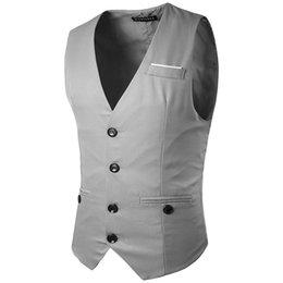 dark blue gentlemen suits 2018 - Customized new men's fashion vest chest decoration multi-button gentleman slim suit vest cheap dark blue gentlemen