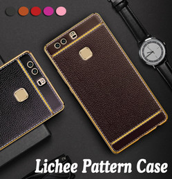 mate plate NZ - Lichee Pattern Soft TPU Rubber Electroplating Plating PU Leather Slim Ultra Thin Cover Case For Huawei P20 Pro P10 Plus P9 Lite Mate 20 10