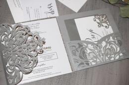 Discount navy pocket squares - 2019 Pocket Invitations Silver Shimmer Square Laser Cut Wedding Invitation - Blank Inner Laser Cut Wedding Invite Pocket