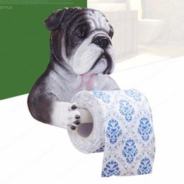 Free Toilet Paper Roll Holder Australia - Wall bathroom towel rack toilet cute decorative dog health carton box pumping tray Free perforated toilet paper tissue holder