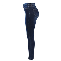 high waist skinny stretchy jeans Australia - New Arrived High Waist Jeans for Women Stretchy Dark Blue Button Fly Denim Skinny Pants Slim Trousers Drop Shipping