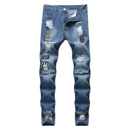 Men scratch jeans online shopping - American Mens Broken Jeans Patchwork Hip Hop Skinny Denim Pants for Male Fashion Scratch Pencil Pants