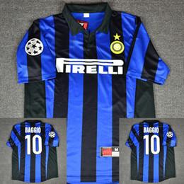 0a7862b96 98 99 Inter J.Zanetti Djorkaeff Ronaldo Baggio Zamorano Simeone Pirlo Retro  Soccer Jersey Milan MAGLIA Calcio Maillot Vintage Camiseta