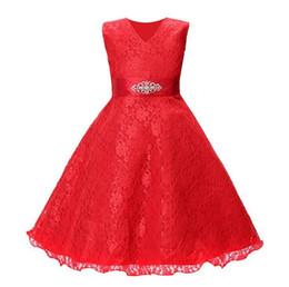 Diamond White Color Wedding Dress UK - Flower Girl Dresses for Wedding Blush Pink Princess Tutu Sequined Appliqued Lace Dress skirt + diamond belt dress