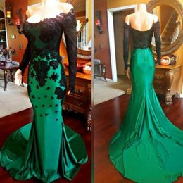 Blue hollow online shopping - Simple Black Appliques Prom Dresses With Long Sleeve And Green Taffeta Sweep Train Mermaid Off the Shoulder Evening Gowns