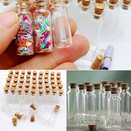 100 pezzi 1.4ml Mini Bottiglie di vetro a baionetta con sughero Bottiglie di desiderio trasparenti DY 12X28X6 mm Piccoli vasi di vetro Ciondoli in Offerta