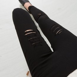 Brown Ripped Jeans NZ - 2016 Cotton High Elastic Imitate Jeans Woman Knee Skinny Pencil Pants Slim Ripped Jeans For Women Black Ripped XXXL JN079