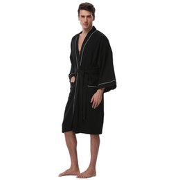 Waffle Bathrobes UK - Men s Waffle Cotton Robes Long Sleeve Kimono Bath  Robes Terry Cloth Winter 4b26bed7d