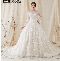 808ef0b6caa Rose Moda Gorgeous Long Sleeves Princess Wedding Ball Gown 2018 Low V Back  Lace Wedding Dresses with Royal Train