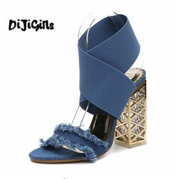 04be135f9d7d8 New 2018 Women sandals Sexy ankle corss strap gladiator sandals Luxury  metal square high heels Denim Summer shoes sandals woman