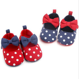 Baby Girls Polka Dot Shoes Australia - New Born Baby Girl Shoes Princess Polka Dots With Bow Soft Cotton Toddler Crib Infant Little Kid Sole Anti-slip First Walker