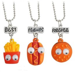 necklaces pendants Australia - Best Friends Pendant Cute Child Jewelry Emulation Resin Burger Hot Dog Food Necklace Cherry Ice Cream Jewelry Set Christmas Gift
