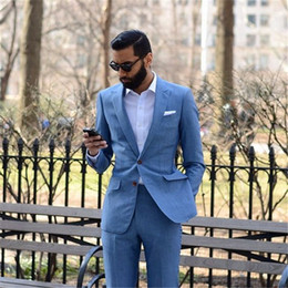 Men Sky Blue Pants Canada - 2018 New Tailor Made Light Blue Men Suits 2pieces(Jacket+Pants+Tie) Slim Fit Groom Prom Tuxedo Summer Style Blazer For Men