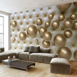 Leather Living Room Wallpaper Australia - Custom Wall Mural Wallpaper European Style 3D Stereoscopic Golden Ball Soft Pack Imitation Leather Photo Wallpaper Living Room