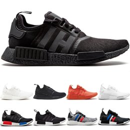 Chinese  NMD R1 Primeknit Running Shoes Men Women Triple Black White OG Classic Tri-Color Grey Oreo Japan Red Fashion Sports Sneakers Size 5-11 Cheap manufacturers