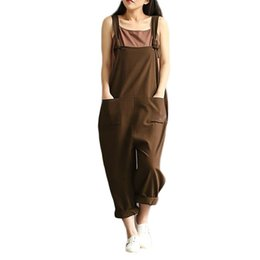 women linen overall 2019 - Women Cotton Linen Bib Solid Strappy Sleeveless Overalls Loose Long Suspender Pockets Spring Autumn Vintage Trousers 5XL