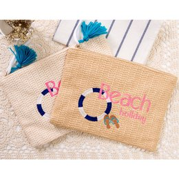$enCountryForm.capitalKeyWord NZ - Beach Bag Straw Small Envelope Clutch Purse Summer Hand bags Rattan Women Handmade Large Capacity Beach Bags