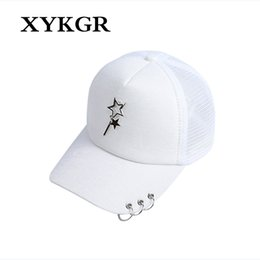 e8336e9b471 Men and women models mesh breathable hat stars ornaments three hoop caps hip -hop skateboard baseball cap