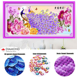 paintings peacocks NZ - Special Shaped Diamond Embroidery Peacock & peony Full DIY Diamond Painting Cross Stitch 3D Diamond Mosaic Bead Picture Decor