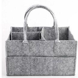 NewborN baskets online shopping - Baby Diaper bags Gray infant Diaper Tote Bag Portable Car Travel Organizer Felt Basket newborn Girl Boy nappy Storage bag C4244