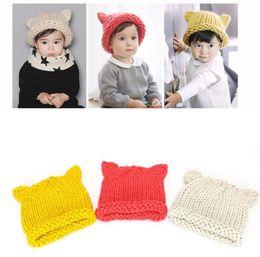 Baby Girl Crochet Patterns NZ - Handmade Knitted Cute Baby Girl Boy Winter Hat Cat Ears Lovely Cartoon Design Baby Hat Crochet Pattern Hat