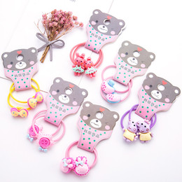 White Rabbit Hair Australia - 8PCS Lot Girls Cute Cartoon Pig Rabbit Bow Hair Bands Children Headwear Ponytail Holder Headbands Hairband Kids Hair Accessories