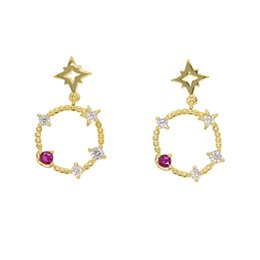 big star beads 2019 - New Summer Elegant Gold Star Drop Big Circle Earrings Link Beads Fashion Simulated Ruby inlaid Clear CZ For Girls Party