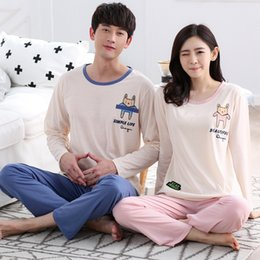 $enCountryForm.capitalKeyWord NZ - Cotton Pajama Sets for Women 2018 New Autumn Couples Long Sleeve Pyjama Cute Cartoon Sleepwear Men Lounge Homewear Home Clothing
