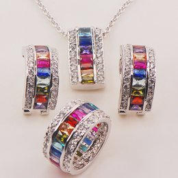 Discount morganite crystal - Morganite Blue&Light Blue&Purple&Red Crystal Zircon Garnet 925 Silver Jewelry Set Pendant Earrings Ring size 6to 12