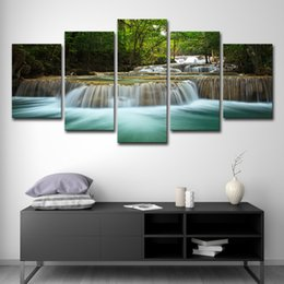 $enCountryForm.capitalKeyWord Australia - 5 Pcs Waterfall Painting Canvas Wall Art Picture Home Decoration Living Room Canvas Print Painting--Large Canvas Art