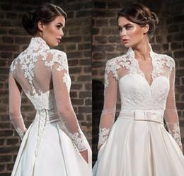 Plus Size Lace High Neck Hochzeit Wraps mit langen Ärmeln Sheer Bolero Jacken Tüll Bridal Accessories Custom Made