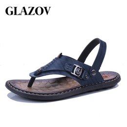 $enCountryForm.capitalKeyWord Canada - GLAZOV New Arrival Summer Cool Leather Breathable Men Flip Flops Korean Style Male Slipper Non-slide Male Handmade Slippers