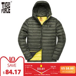 Jacket Tiger NZ - TIGER FORCE Men Hooded Jacket Fashion Spring Winter Cotton Padded Jackets Solid Color Casual Parka Male Puffy Coat with Hoody C18111201