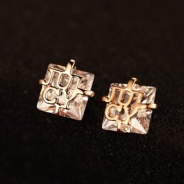 number plates for sale NZ - Hot Sale Square Cubic Zirconia Stud Earrings for Women Vintage Gold Plated Earrings Fashion Korean Jewelry Fine Accessories Top Quality