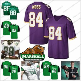 Wholesale NCAA Marshall Randy Moss Green Jersey Moss Purple Vintage Retired Player Navy Blue Red White Retro College Football Jerseys