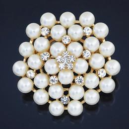 $enCountryForm.capitalKeyWord Canada - Cream Faux Pearl Big Snowflake Flower Crystal Brooch Europe And USA Fashion Wedding Brooch Hot Selling Lady Hijab Wear Pins