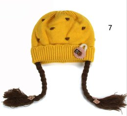 wig crochet hat Australia - Gilrs Beanies Cotton Inner Long Braid Wig Hats Kids Ribbed Knit Skullies Cap 2018 Child Autumn Winter Warm Baby Hat Cap MZ4082