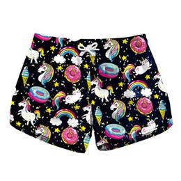 4897fb2763 Women Short Beach Shorts Unicorn Donut Rainbow Ice Cream 3D Full Print Girl  Swimming Shorts Lady Digital Beach Pants Boardshort (RLLbp-6020)