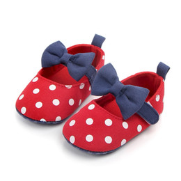 $enCountryForm.capitalKeyWord Australia - Cute Baby Girl Shoes Princess Polka Dots With Bow Soft Cotton Toddler Crib Infant Little Kid Sole Anti-slip First Walker